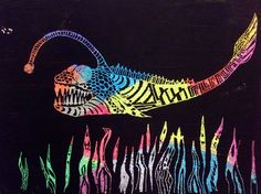 Zentangle animals. Crayon on cardstock painted over with black tempera. Scratch off with wooden skewers 6th grade