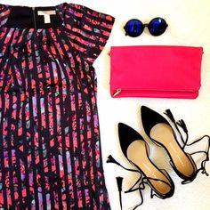 Forever 21 Dresses - NWOT Dark Floral & Stripe Shift Dress