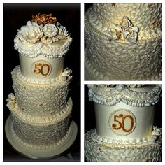 50th Anniversary Cake  All buttercream with handmade gumpaste roses. Used various design concepts to be more traditional.