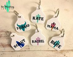 Whimsical Western Art Decor Gifts by thewhistlingsaguaro Cute! Order blank ones for Calissa! Cattle Tags, Ear Tag, Showing Livestock, Art Decor, Westerns, Etsy Seller, Arts And Crafts, Monogram, Projects To Try