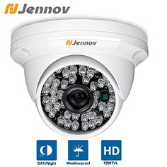Jennov HD Color 1200Tvl Cmos Sensor Cctv Surveillance Security Camera Day Night Vision 48 Ir Leds Waterproof Outdoor/Indoor Wide Angle 3.6mm Lens Metal Dome Video System For Home