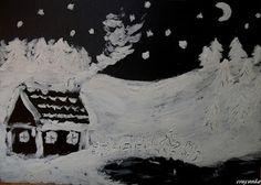 Domek w górach namalowany pastą do zębów