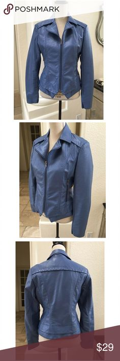 "Bernardo S blue faux leather jacket fitted zip up Bernardo S blue faux leather Jacket ✨ two zippered pockets and zip up front ✨ classic collar , super cute, worn only a few times , Great condition ✨ dimensions: bust 18"" pit to pit, waist 16"" across, sleeve 24.5"" long, overall length 22.5"" Bernardo Jackets & Coats"