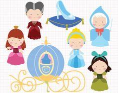Disney Inspired Cinderella Digital CLIP ARTS personal by Digicute, $5.00