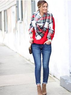 tartan scarf with red sweater outfit, Winter outfits ideas in pop colors http://www.justtrendygirls.com/winter-outfits-ideas-in-pop-colors/