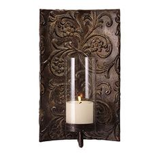Imax  Galicia Embossed Metal and Glass Sconce  $52.00