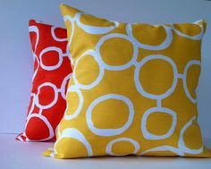 YELLOW & TANGELO with white 2 SET by TwistedBobbinPillows on Etsy, $30.00
