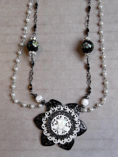 "24.5"" Black & White, Two Strand Necklace With Hand-Crafted Pendant and Free Matching Earrings ~ FREE USA Shipping!   Sold!"