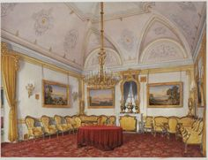 The 3rd Reserved Apartment, the Drawing Room, in the Winter Palace watercolor by Edward Petrovich Gau.