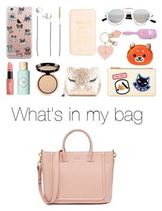 """Whats in my bag"" by stevie-pumpkin ❤ liked on Polyvore featuring Kreafunk, ban.do, Spektre, Vivienne Westwood, NYX, Benefit, Giorgio Armani, Forever 21, Miu Miu and Furla"