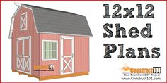 Free shed plans include gable, gambrel, lean to, small and big sheds. Free how to build a shed guide. Shed Plans 12x16, Free Shed Plans, Coop Plans, Wood Storage Sheds, Build Your Own Shed, Shed Building Plans, Building Ideas, Shed Kits, Barns Sheds