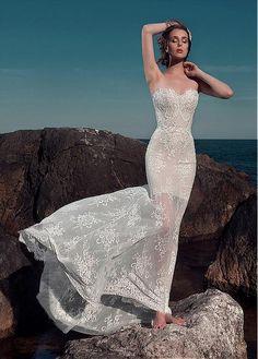 Sweetheart Lace&Satin Floor Length Wedding Dress In Sheath Design