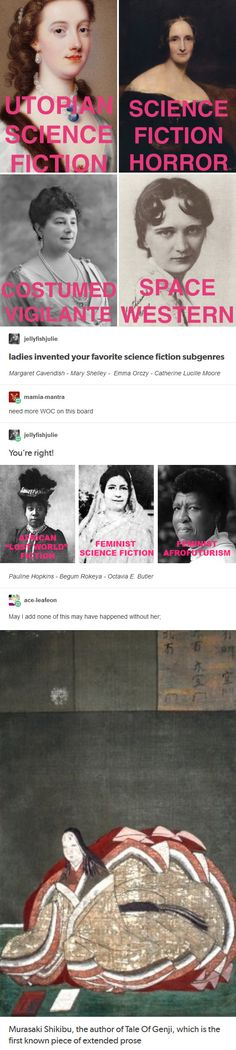 """Female pioneers of Sci/fi! Margaret Cavendish, """"The Blazing World"""" Mary Shelley, """"Frankenstein"""" Emma Orczy, """"The Scarlet P. Fandoms, Badass Women, Faith In Humanity, Women In History, History Facts, Human Rights, Equality, Amazing Women, Science Fiction"""