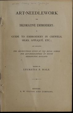 """Art-Needlework For Decorative Embroidery"" (1879) - Online Vintage Instruction Book"