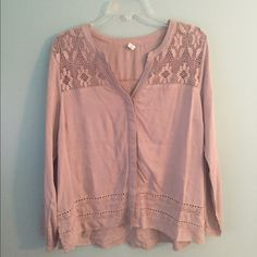 Old Navy Top Long sleeve, button down blouse. Cute lace on the top for added detail. Only worn once and in perfect condition! Old Navy Tops Blouses