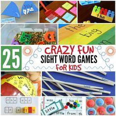 25 Crazy Fun Sight Word Games For Kids Featured Word Games For Kids, Learning Games For Kids, Hobbies For Kids, Sight Word Games, Learning Colors, Learning Activities, Teaching Ideas, Preschool Literacy, Kindergarten Activities