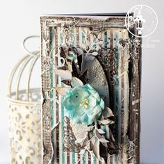 Scrapbooking cards, exploding box, shabby papers, vintage cards,