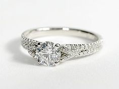 Micropavé Foliage Diamond Engagement Ring in Platinum #BlueNile #Engagement