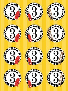 Emma Ramey's Firetruck 3rd Birthday Party - free cupcake toppers for a fireman birthday party