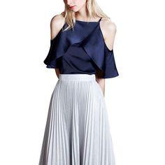 2017 Summer Sexy Women Chiffon Blouses Lady Off Shoulder Ruffles Shirts Women Fashion Sleeveless Top Plus Size