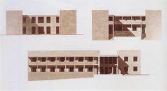 Giorgio Grassi, Miglianico Chieti, maisonpour-quatre freres, 1978, elevations et coupe