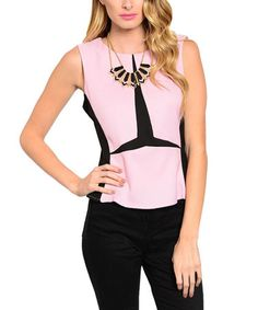 Another great find on #zulily! Pink & Black Zip-Back Sleeveless Top #zulilyfinds