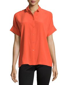 Lafayette 148 New York Britlee Short-Sleeve Crepe Blouse, Bonfire  New offer @@@ Price :$298 Price Sale $179