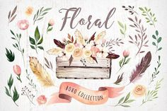 Bohemian watercolor collection II- high quality hand painted watercolor floral elements. Boho style.