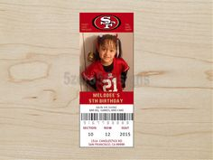 49ers Birthday Invitation 49ers ticket invitation by 5zero5designs