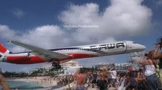 Jaw-dropping scene was shot at picturesque Maho Beach on St Maarten - one of the best plane-spotting locations. Video shows a Pawa Dominicana flight flying l. Jet Fly, Travel News, Stunts, Caribbean, Scary, Aviation, Aircraft, Places To Visit, The Incredibles