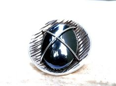 Hematite Ring Womens Ring Hematite Gemstone Ring Sterling