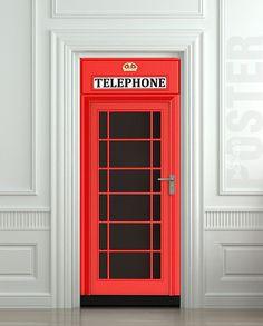 "Door STICKER Telephone Box London red mural decole film self-adhesive poster 30x79"" (77x200 cm)"