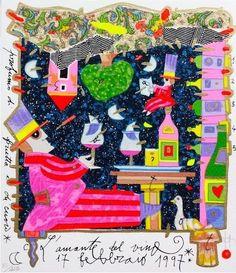 MUSANTE FRANCESCO - L AMANTE DEL VINO - serigrafia su carta - 20 x 23  cm