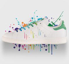 check out 8af8d 22a7a ADIDAS ORIGINALS STAN SMITH RAINBOW PAINT SPLATTER WHITE GREEN D70352  180  Pink Beige, Adidas Superstar