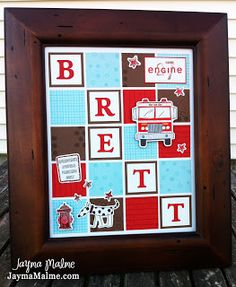 Playing with Paper: CTMH Scrapbooks, Cards & DIY: Fire Engine {What's in a Frame} Nursery decor for Baby Boy