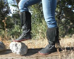 Moccasin Boots Handmade Fringe Tall Moccs by FaeMoonWolfDesigns