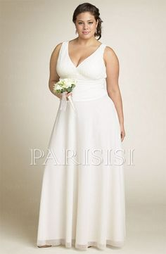 Simple Design Plus Size Wedding Dress Chiffon White V Neck Long Zippered Back Sheath Price Usd 199 Parisisi Online