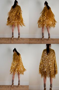 gold fringed cape, fashion editorial for serbian elle