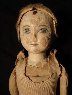 19th century folk art prairie doll. Not sure if this is a true wooden or not, but it is just lovely.