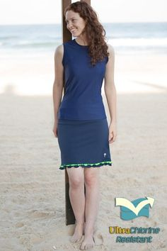 Pretty in Navy. Swim or Workout Tank Top & Skirt - 100% Chlorine Proof #Swimwear #Modest #Workout