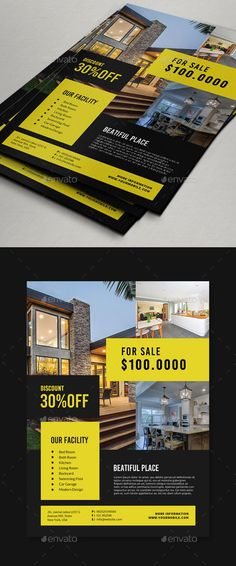 Real Estate Flyer by Comodensis 1 PSD Smart Object 300 dpi CMYK mm Easy to use All text editable with text tool Images not incl Advertising Flyers, Real Estate Advertising, Real Estate Ads, Marketing Flyers, Real Estate Flyers, Real Estate Business, Creative Flyer Design, Creative Flyers, Corporate Flyer