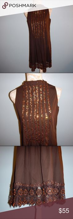 Salabianca Sequin Dress Salabianca Brown Beaded Sequin Crochet Dress Chest 18 inches flat waist 19 inches flat length 38 inches. No size tag please look at measurements for proper fit. Salabianca Dresses