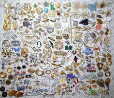 #Vintage #Huge #Large #Costume #Jewelry 250 Piece #Lot #Signed #Victorian #Modern #Rhinestones #Weiss #Trifari #Marvella #Monet #Brooches #Pins #Earrings #Scarf #Clips #Sets etc by OakwoodView