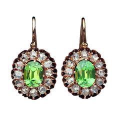 Antique Russian Demantoid Rose Diamond Earrings, Circa 1885