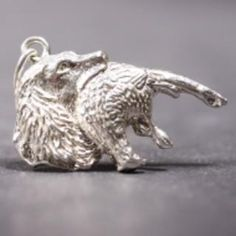 Field Spaniel silver PENDANT head with pheasant