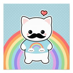 Cute Mustache Cat Birthday Announcements