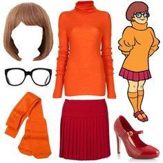 "Velma Dinkley costume from Scooby Doo. ""Jinkies!"" by azurafae on Polyvore--tam, I thinks I'm gonna see if I can round this stuff up! I don't even need the wig!"