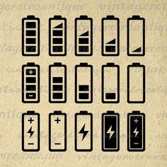 Printable Image Battery Icon Set Graphic Collage Sheet Digital