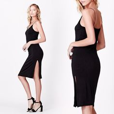 womens midi slid dress, strappy dress, dress with slit, sleeveless midi dress, sexy dresses Minimal Dress, Slit Dress, Women's Dresses, Women Wear, Ootd, One Piece, Clothes For Women, Clothing, How To Wear