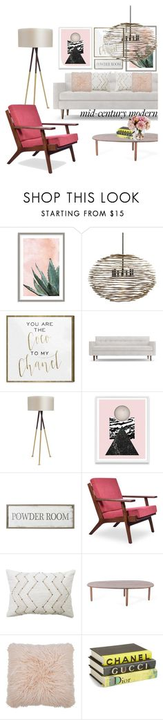 """MID CENTURY MODERN"" by tamaramanhardt ❤ liked on Polyvore featuring interior, interiors, interior design, home, home decor, interior decorating, Art Addiction, Arteriors, Oliver Gal Artist Co. and Joybird"
